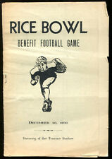 1936 Rice Bowl Benefit Football Game Program San Francisco v Los Angeles VG Cond