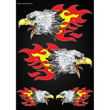 Stickers autocollants Moto casque réservoir Flames Aigle Format A4 2502