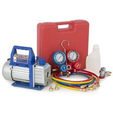 A/C Kit Dual Gauge Diagnostic Manifold Tester R134a + 3CFM 1/3HP Vacuum Pump Set