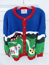 Cotton Salsa Hand Knit Sweater Golf 3D Figures Wooden buttons Hand Made in Peru