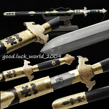 100% Hand Forged Top Boutique Chinese Qianlong Sword Pattern Steel Copper Ebony