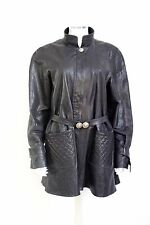 Chanel Black Quilted Leather Swing Coat Jacket 42 uk 14