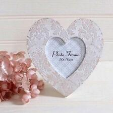 "CREAM Shabby Rustic Chic Style BAROQUE Wooden LOVE HEART PHOTO FRAME 4"" x 4"""