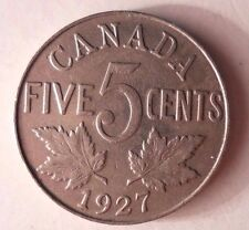 1927 CANADA 5 CENTS - Low Mintage Quality Coin - FREE SHIP - Canada Bin