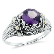 COLOR CHANGING LAB ALEXANDRITE ANTIQUE STYLE .925 SILVER RING SIZE 6.75,    #132