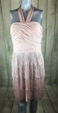 BOSTON PROPER Muse Women's Pink Halter Fringe Flapper Style Cocktail Dress 8