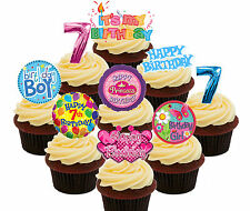 7th Birthday Boy & Girl Edible Cup Cake Toppers, 36 Standup Fairy Decorations