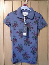 Jack Wills Ladies Stonebury Floral Purple Polo Top Size 8 NEW (tags) RRP £39.50