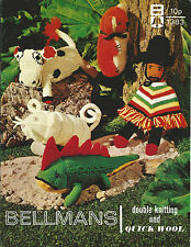 VINTAGE 1970s KNITTING PATTERN TOYS COW MEXICAN DOLL IGGY KOALA BEAR & MOUSE TOY
