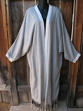 ART TO WEAR HANDWOVEN MOROCCAN KIMONO JACKET DUSTER IN GRAY & WHITE, ONE SIZE