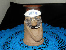 VINTAGE MARK HINES POTTERY MUG/STEIN/TANKARD~OVER 30 YEARS OLD~GOOFY BEER FACE~