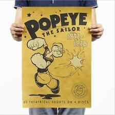 Popeye Animation Poster Vintage Home Bar Decor Chart Kraft Paper Retro Poster