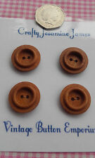 4 Brown Vintage Carved Wood-Effect Brown Plastic Buttons 22mm Sewing Craft