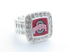 Ohio State Buckeyes Red Clear Crystal Silver Plated Stretch Ring Jewelry OSU