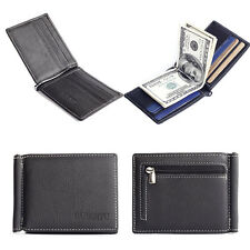 Men's Leather Bifold Wallet Credit/ID Card Holder Slim Coin Purse Black