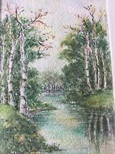 Original Signed Watercolor Painting Birch Trees On Rivers Edge Matted& Framed