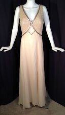 NWT Vtg Alyce Designs Champagne Beaded Chiffon Pageant Formal Dress Gown Sz 14