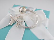 New Tiffany & Co Silver Rare Plane Globe Key Ring Keychain Box Included