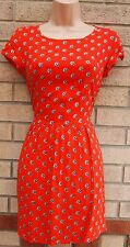 FLORAL DAISY PRINT ORANGE SKATER SUMMER TEA VINTAGE A LINE RARE DRESS 6 XS