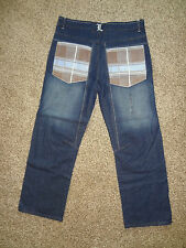 Lion Brand Original Mens Jeans Size 36 Plaid Pockets Dark Wash Denim NWOT