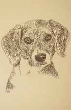 Beagle Dog Signed Kline Art #44 Artist adds your dogs name into print free. GIFT