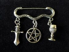 Wiccan Ritual Altar Tools Cloak Brooch pentacle athame chalice silver