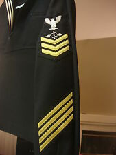 US NAVY DRESS BLUES JUMPER 42S  AZ 1 GOLD W/4 GOLD HASH MARKS UIM COMACCLOGWING
