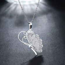 Butterfly Necklace Jewelry Crystal Pendant Fashion NEW Women Silver Plated