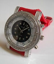 Men's Iced Out Silver Finish Hip Hop Rapper Style Red  Rubber Silicon Band Watch