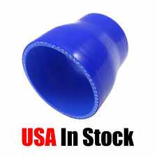 """89MM TO 102MM STRAIGHT REDUCER COUPLER SILICONE HOSE 3.5"""" TO 4"""" BLUE"""