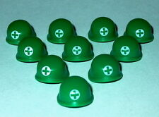 HEADGEAR Lego X10 Green Army Men Medic Helmets NEW Military WWII
