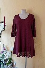 MAGNA RUNDUM SPITZEN TUNIKA Kleid 44/46 NEU bordeaux A-Form Stretch LAGENLOOK