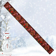 Christmas Ribbon BROWN GINGERBREAD MEN & CANDY CANES ~ 22mm 5 yard  (4.5 metres)