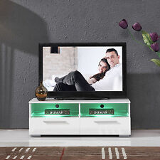 High Gloss White LED Shelves & 2 Drawers TV Stand Unit Entertainment Cabinet