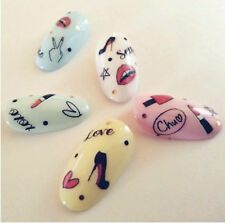 Lip Sticks High Heels Love XOXO Sexy Hearts V Water Transfers Nail Art  Decals