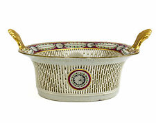 Chinese Export Reticulated Presentation Basket 19th Century Shell Form Handles