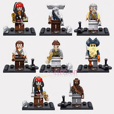 Pirates of the Caribbean Jack Sparrow Davy Jones Zombie 8 Mini Figures Lego Fit