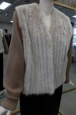 """Sand Dyed Corded Mink Fur 24"""" Vest with Zip Off Knitted Sleeves Size 6/8"""