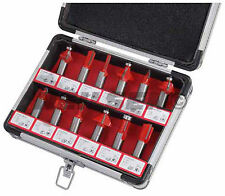 "12 Piece 1/2 "" Shank Router Bits Set in Aluminium Case - dovetail cove ogee"