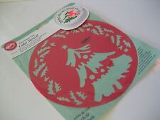 "c WILTON CHRISTMAS TREE HOLLY 8"" CAKE STENCIL 417-1242 Red Plastic Decorating"
