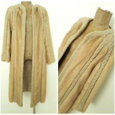 Vintage 60s I Magnin Mink Fur Coat Size Medium Blonde Formal Cable Knit Jacket