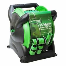 15M COMPACT WALL REEL SET GARDEN HOSE PIPE & FITTINGS FREE STANDING