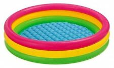 """Swimming Pool Kids Children Colorful Inflatable 58""""x13"""" 3 Rings Round Ages 2+"""