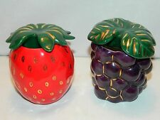 PAIR OF PORCELAIN GRAPE & STRAWBERRY JAM JARS –HAND MADE BY RUTH STEINFELD