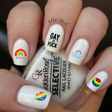 Gay As-Fuck Queer As Heck Nail Art Waterslide Decals Rainbow Smiley Face Lips