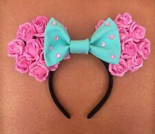 Disney Pink And Blue Floral Rose Minnie Mouse Ears Headband Disneyworld