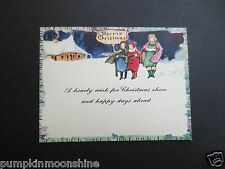 # J994- Vintage Unused Art Deco Xmas Greeting Card Country Carolers Singing