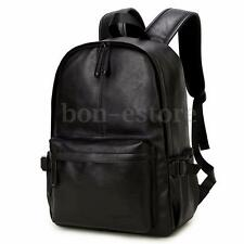 Men's Vintage Leather Backpack Rucksack Laptop Satchel Bookbag Travel Bag Black