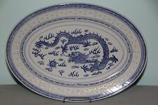 """Chinese Blue & White Porcelain Rice Eyes with Dragon Oval Large 14"""" Platter"""