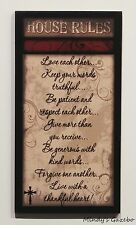 FAMILY HOUSE RULES Primitive Wood Sign Country Rustic Home Decor gift